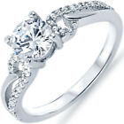 925 Sterling Silver Abstract Infinity Wedding Solitaire Round CZ Ring Size 3-11