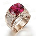 Fashion Jewelry Ruby/Garnet 18KT Man's Gold Plated Ring Wedding Gift size 8-15