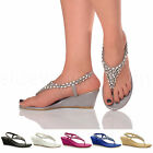 Womens ladies diamante jewelled wedding evening toe post mid wedge sandals size