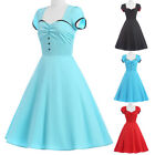Women 50s 60s Vintage Style Dress Housewife Pinup Casual Party Dresses Size S-XL