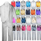 7pc Boy Kid Teen Formal Wedding Wear White Suit Tuxedo Extra Vest Necktie 8-20