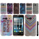 For Alcatel OneTouch Evolve 2 4037T Chevron Nebula PATTERN HARD Case Cover + Pen