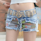 Youth Sweet Women Girl Mini Slim Jeans Shorts Pants Trousers Denim Cute Words On