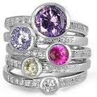 Sterling Silver Round Colorful CZ 5 in 1 Romantic Stackable Band Ring Size 5-11