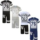 Kids Brooklyn 76 print T-Shirt & Shorts 2 Pc Set Boys Girls Top Bottoms 3-12 Y