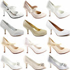 LADIES WOMENS SATIN HIGH HEEL PROM PARTY WEDDING BRIDAL EVENING COURT SHOES SIZE