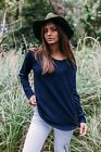 New Arrival Long Sleeves Soft Basic Knit Top Navy