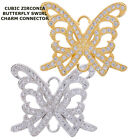 Cubic Zirconia Crystal Paved Swirl Butterfly Bracelet connector Charm Plated 2pc