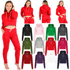 Women's Ladies Girls Crop Top Hoodie Plain Pullover Sweatshirts Hoodies Jumpers