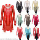Ladies Crochet Butterfly Boyfriend Lace Cardigan Drape Mesh Top Plus size nettop