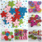 10 NOVELTY wooden flower buttons, multicoloured  2 holes daisy or flower