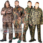Mens Camo Waterproof Rainsuit Set Hooded Jacket Trouser Set Suit Fishing Camping