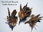 Wedding Boutonniere Feather Brown with Purple and Orange