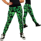 Streetwear Green Weed Leaf Leggings Marijuana Cannabis Kush XL Plus Yoga Pants