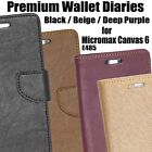 Diary Wallet Style Folio Flip Flap Cover Case For Micromax Canvas 6 E485