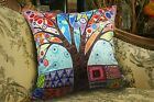 Colored Tree VELVET PILLOW COVER Prim FOLK ART Various Sizes Karla Gerard