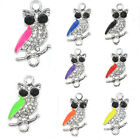 OWL Bird Protector Animal Crystal Cooper Bracelet connector Charm Silver Plated