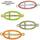 Christian Sideway Oval Cross Crystal Cooper Bracelet connector Charm Plated 8pc