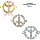 Peace Sign World Symbol Crystal Cooper Bracelet connector Charm Plated 8pc