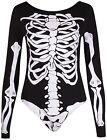 Womens Halloween Bones Skeleton Printed Ladies Long Sleeve Leotard Bodysuit Top