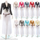 Womens Shrug Wrap Over Cropped Cardigan Crochet Bolero Tie Up Crop Top Size 8-20