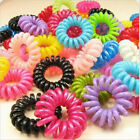 10/20X Girl's Elastic Phone Cord Rubber Hair Ties Band Rope Ponytail Holder