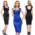 LADIES NEW BLUE BLACK SATIN VINTAGE 50s 60s RETRO PINUP PARTY PROM PENCIL DRESS