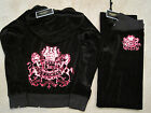 NWT Juicy Couture Black Royal Crown Velour Hoodie Pants Tracksuit Set Small $256