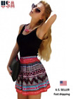 Women Summer Fashion Black Tank Top Tribal Print Skirt Flared Mini Dress S-L