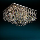 Contemporary Ceiling Decor Chandelier Lights Rectangle Clear Crystal Flush Mount