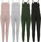 Womens Knitted Jumpsuit Strappy Sleeveless Full Length Trousers Pockets Stretch