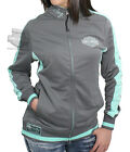 Harley-Davidson Womens Breeze B&S Mock Neck Full Zip Grey Track Jacket