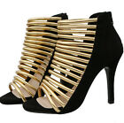Women's Open Toe Gold Strappy Hollow High Top Sandals Shoes Gladiator Stilettos