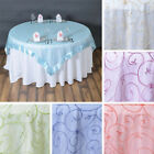 """24 x Embroidered Organza 72x72"""" SQUARE Table OVERLAYS Wholesale Wedding Linens"""