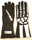 Auto Racing Nomex Skeleton Gloves - Black Glove with Green Skeleton