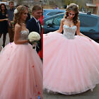 Pink Quinceanera Dress Beading Ball Gown Homecoming Prom Dresses Size2+4+6+8+10+