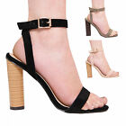 LADIES WOMENS HIGH HEEL ROUNDED HEELS SUMMER ANKLE STRAP FASHION SUMMER SHOES