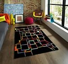 Small Funky Black Colourful Squares Design Modern 3D Effect Quality Bedroom Rugs