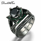 Round Cut Black and Green Nano Ring Set Black Gold Plated Flower Rings For Women
