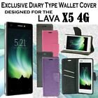 Diary Wallet Style Folio Flip Flap Cover Case For Lava Iris X5 4G