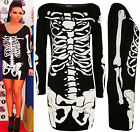 New Womens Skeleton Print Long Sleeve Bodycon Ladies Halloween Party Dress 8-14