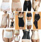 Firm Control Briefs Long Leg Shapers Knickers Beige Black Satin Panel Elastane