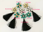 15pcs 2.2cm yellow/green tassel Rhinestones beads appliques patches brooch 3865