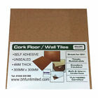 Natural Cork Tiles (Self Adhesive) For Floor / Wall / DIY 300x300mm 4mm thick