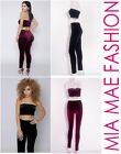 WOMENS LADIES VELOUR 2 PIECE SET WRAPPED TOP AND PANTS SUMMER 2016 MIA MAE