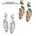 Fashionable Crystal Butterfly Swirl Bridal Chandelier Cocktail Earrings Plated