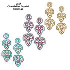 Beautiful Crystal Leaf Flower Design Bridal Chandelier Cocktail Earrings Plated