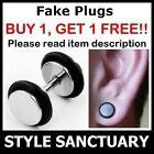 Stainless Steel Silver Fake Flesh Plug Earring Ear Stud Stretcher Ring Mens NEW