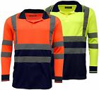 Hi Vis High Viz Visibility Long Sleeve Safety Work Polo Shirt - EN471 | HV033
