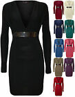 New Womens Plunge V Neck Buckle Belt Ladies Long Sleeve Mini Dress Top 8 - 14